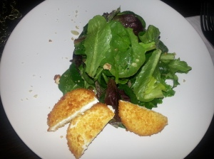 Warm Crusted Goat cheese Salad