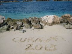 curacao in sand